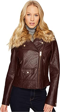 "Beverly 20"" Faux Bubble Leather Jacket"