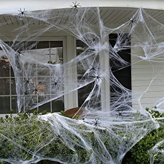 90shine 1100 sqft Fake Spider Web Cobweb Halloween Party Outdoor Decorations Supplies with 60 Spiders