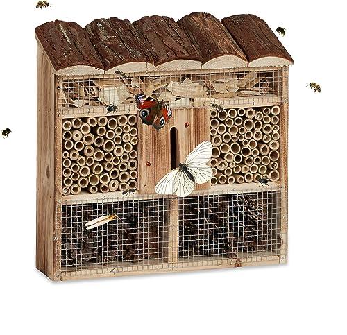 Relaxdays Hôtel à Insectes en Bois à Suspendre abri Abeille Refuge Papillon Grillage HxlxP: 31 x 30,5 x 9,5 cm, Natur...