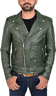 Mens Green Leather Biker Jacket Fitted with Belt Retro Brando Style Coat - Elvis
