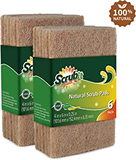 All Natural Scouring Pad by Scrub-it - Cuts Through Kitchen Dirt with Ease - Dish and Pot Non-Scratch Scrubber - 100% Natural Sisal Cleaning Scrubbing Pads - No Harmful Chemicals -12 Pack