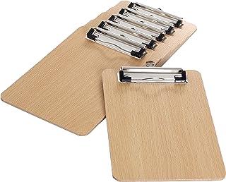 6 Pièces En Bois Porte-bloc A5 avec Pince, très épais 4mm, Clip Planches pour Papier d'écriture Memo des Dossiers, Planche...