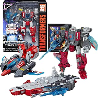 Transformers Year 2016 Generations Titans Return Voyager Class 7 Inch Tall Figure - BLUNDERBUSS and BROADSIDE with Blaster and Card (Alt Mode: Jet and Carrier)