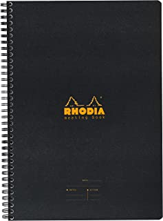 Rhodia Meeting Paper Book 80g Paper - Lined 80 sheets - 6 1/2 x 8 1/4 - Black Cover