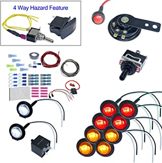 ATV/UTV Turn Signal Kit with Horn and 4 way 8 LEDs (With Wire, Round LED)