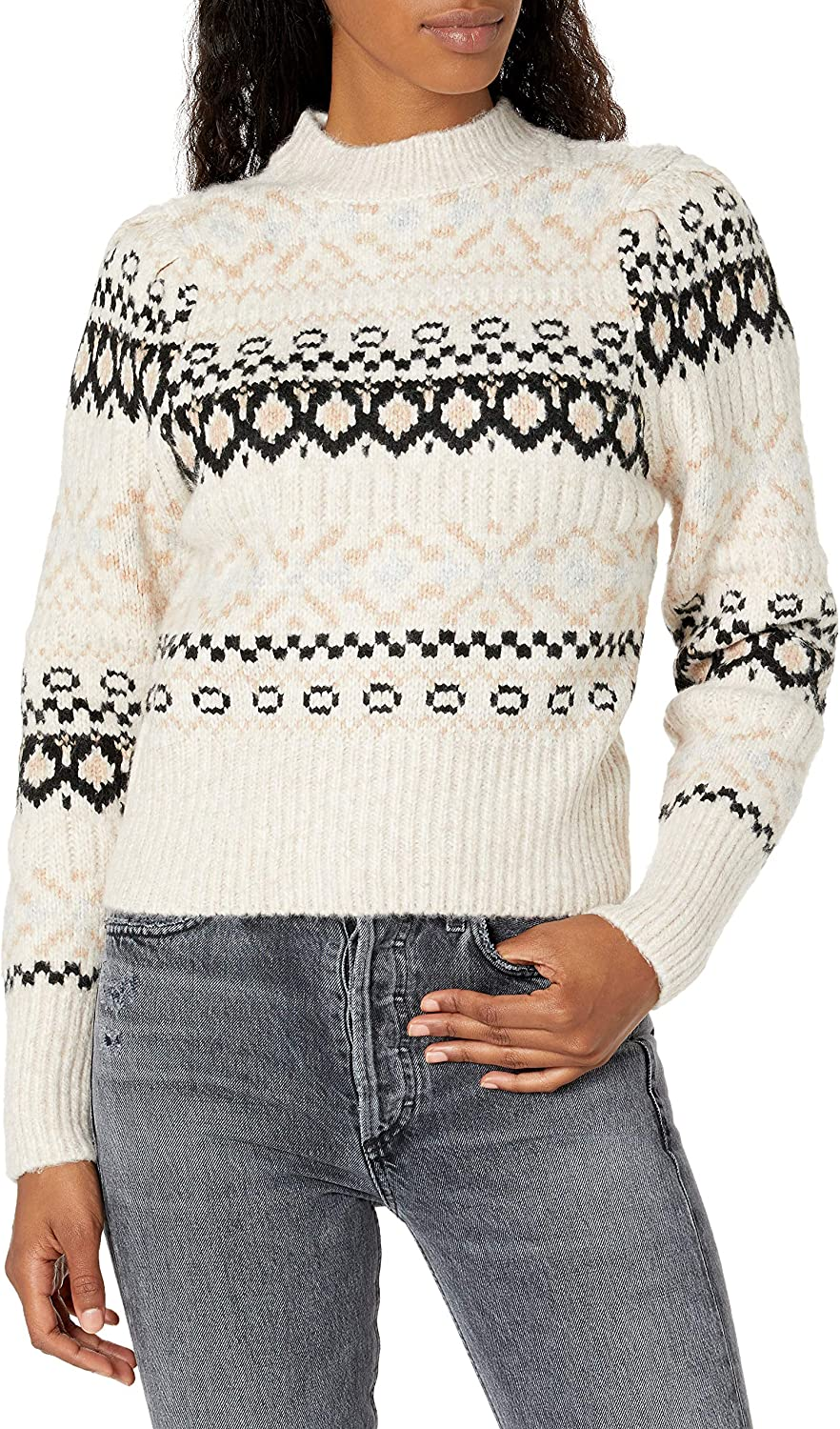 ASTR the label Women's Maria Mock Neck Fitted Sweater