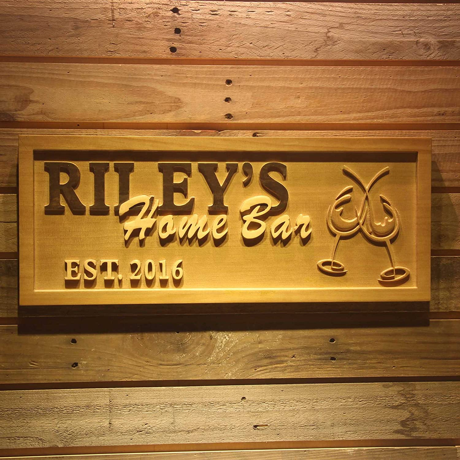 Wpa0165 Name Personalized Home Bar Cheers with EST. Year Wood Engraved Wooden Sign - Standard 23  x 9.25
