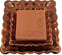 Deluxe Fall Plates and Napkins Set, Serves 20 - Includes Copper Dinner Plates, Dessert Plates and Napkins - Autumn Harvest Thanksgiving Party Supplies, Bundle of 3 Items