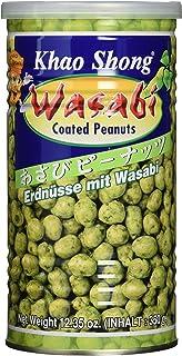 Khao Shong Erdnüsse mit Wasabi, knackige Erdnüsse im scharfen Teigmantel, mittlere Schärfe, knusprige Snacks für unterwegs, 1 x 350 g Dose