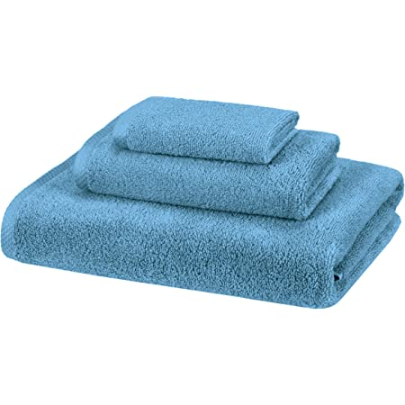 Amazon Com Amazon Basics Quick Dry Luxurious Soft 100 Cotton Towels Lake Blue 3 Piece Set Home Kitchen