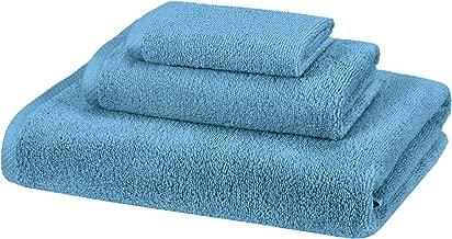 AmazonBasics 100% Cotton Quick-Drying 3-Piece Towel Set - 400 GSM - Lake Blue