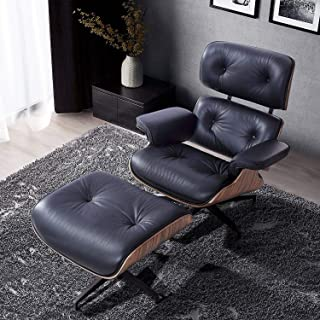 Modern Sources - Mid Century Recliner Lounge Chair with Ottoman Real Wood Genuine Italian Leather Eames Replica (Black Leather/Palisander)