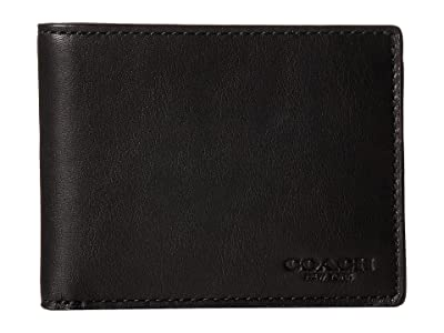 COACH Sport Calf Slim Billfold ID Wallet (Black) Wallet Handbags