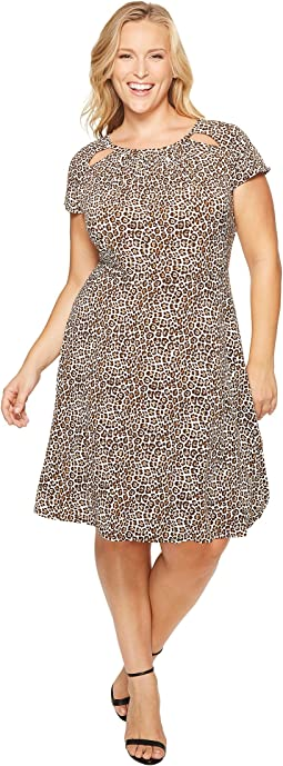 Plus Size Leo Shirred Neck Dress
