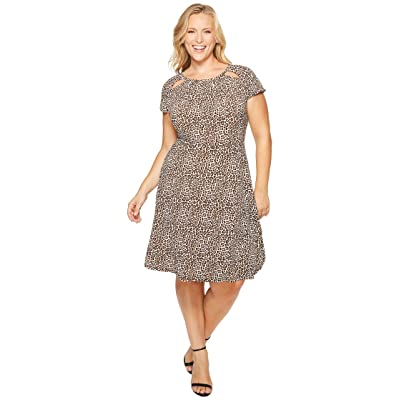 MICHAEL Michael Kors Plus Size Leo Shirred Neck Dress (Chocolate) Women