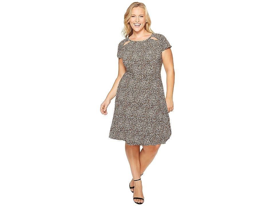 MICHAEL Michael Kors Plus Size Leo Shirred Neck Dress (Chocolate) Women