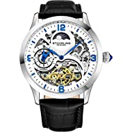 Stührling Original Automatic Watch for Men Skeleton Watch Dial, Dual Time, AM/PM Sun Moon,...