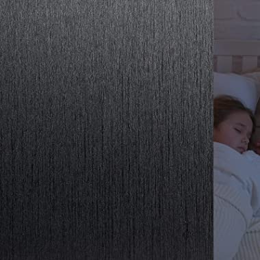 VELIMAX Total Blackout Window Film Silk Black Window Cover Decorative Window Privacy Film Removable Window Tint 100% Room Dar