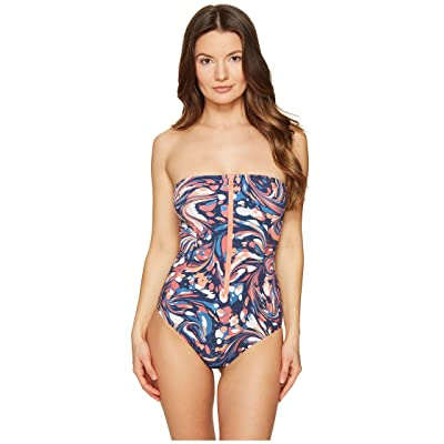 Stella McCartney Mix and Match Marbles Strapless One-Piece (Coral Marble Print) Women