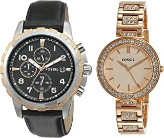 Fossil Analog Watch for Men's Rose Gold and Black
