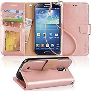 Arae Wallet Case Compatible for Samsung Galaxy S4 I9500 (Rosegold)