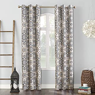 Sun Zero Nepal Global Medallion Print Blackout Grommet Curtain Panel, Linen, 40