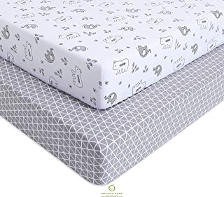 OptimaBaby Crib Sheets, Elephant Bear Fitted, Gray/White, 2 Count