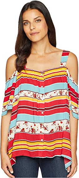 Printed Rayon Cold Shoulder Top
