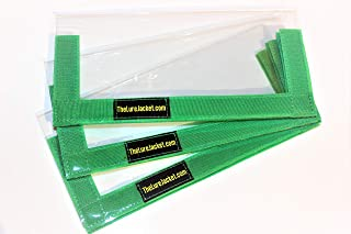 The Lure Jacket 3-Pack Angler Size (Green) - 8 L x 8 W Keeps Children, Pets and Fishermen Safe from Sharp Hooks! Clear PVC with 3/4 Hook & Loop in 6 Colors!