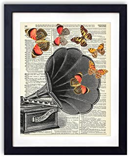 Vintage Record Player With Butterflies Upcycled Vintage Dictionary Art Print 8x10