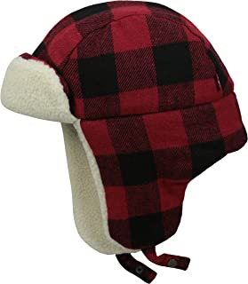 Men's Buffalo Plaid Trapper Hat with Sherpa Lining, Red/Black, Large/X-Large