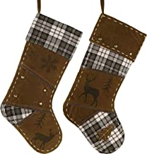 Valery Madelyn 21 inch 2 Pack Woodland Reindeer Christmas Stockings Decorations with Suede, Plaid and Rivets, Themed with ...