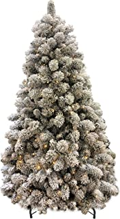 AMERIQUE 691322310863 8 FEET Premium Artificial Full Body Shape Christmas Tree with Metal Stand, Heavily Flocked Snow, Unlit, Snowy, 8'