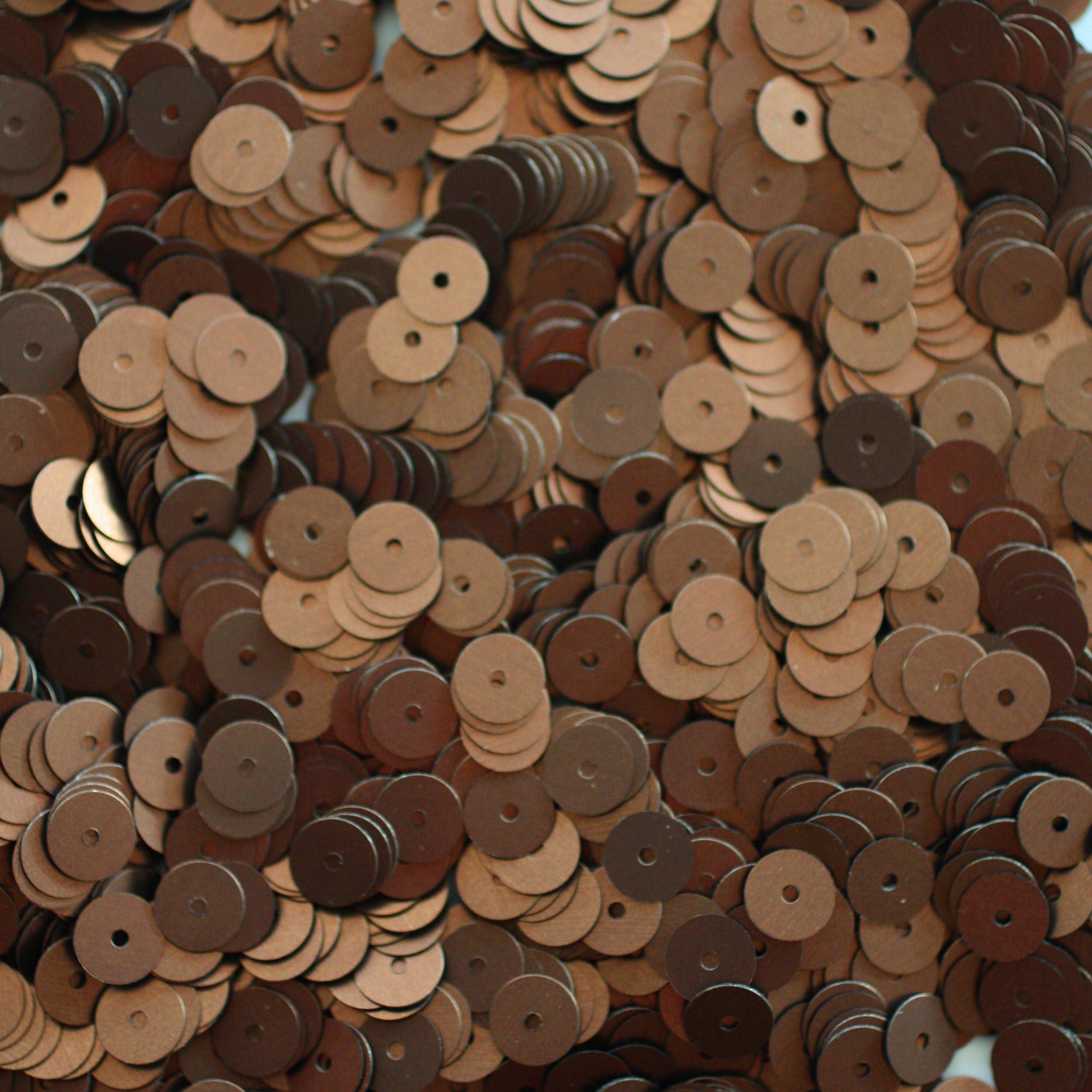 5mm Cup Sequins Bronze Brown Matte Silk Frost Loose Facet Paillettes