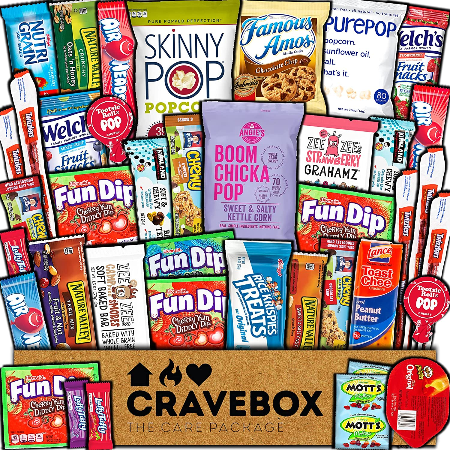 CraveBox Care Package (40 Count) Healthy Snacks Food Cookies Health Bar Chips Candy Nutritious Variety Gift Box Pack Assortment Basket Bundle Mix Sampler Treat College Students Exam Office Back to School