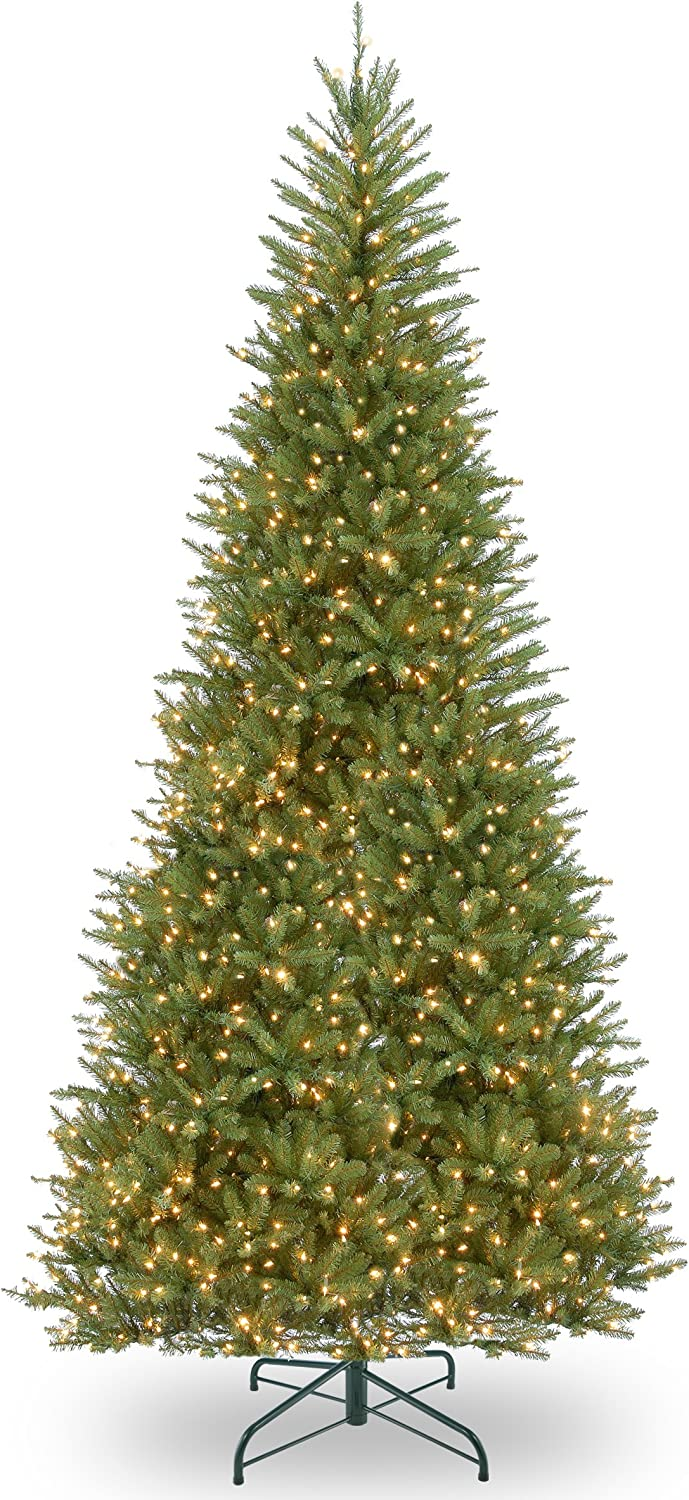 National Tree Company Pre-lit Artificial Christmas Tree   Includes Pre-strung White Lights and Stand   Dunhill Fir Slim - 12 ft
