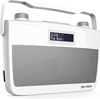 sky vision DAB 8 W – DAB+ Digital Radio (FM UKW Empfang, tragbar für unterwegs, Batterie Betrieb möglich, Plus Kopfhörer Anschluss),weiß