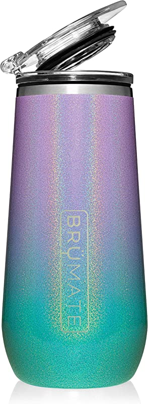 Br Mate 12oz Insulated Champagne Flute With Flip Top Lid Made With Vacuum Insulated Stainless Steel Glitter Mermaid