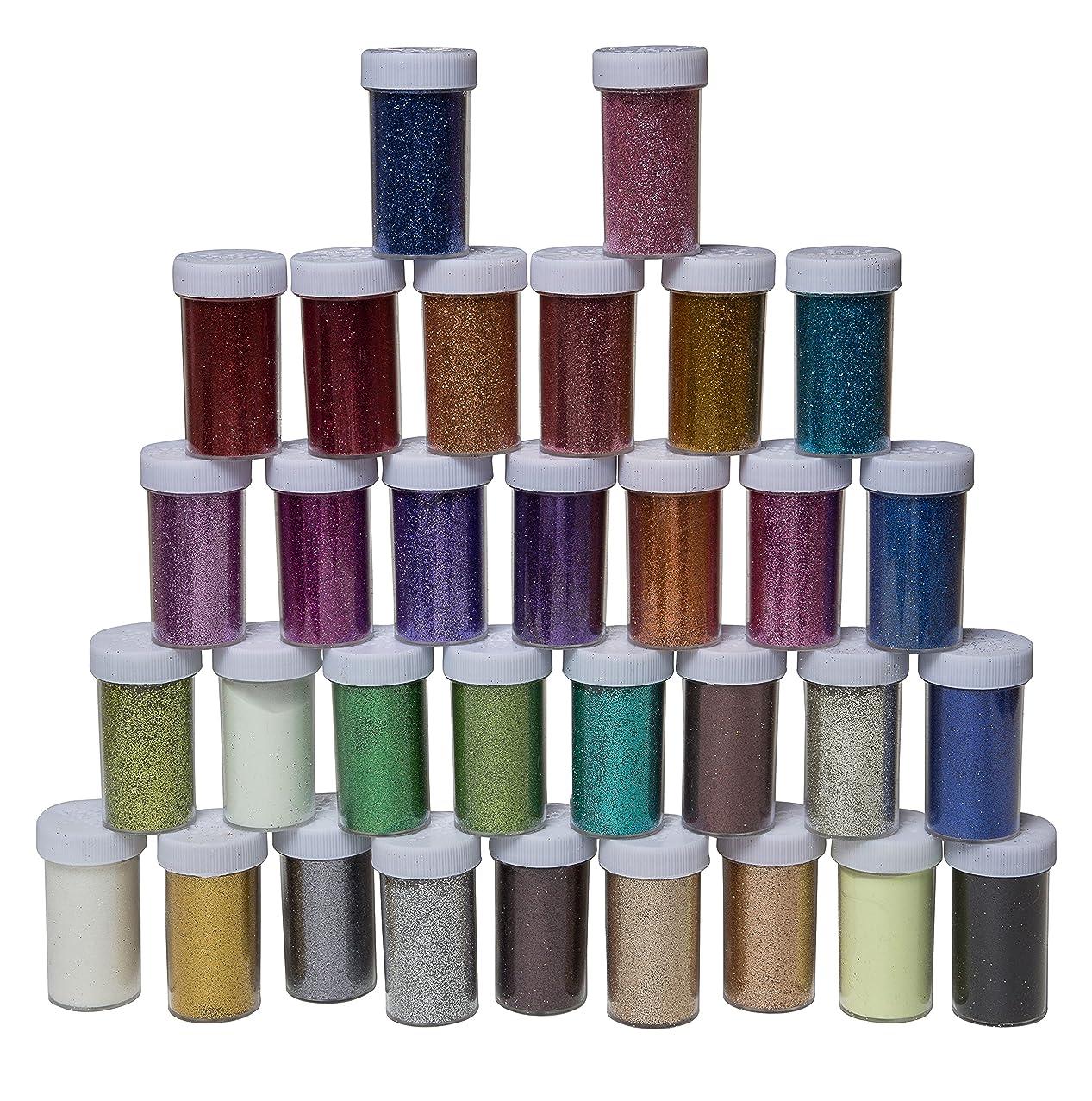 32 Pack Multi-Coloured Glitter Included 2 Glow-in-The-Dark Glitters