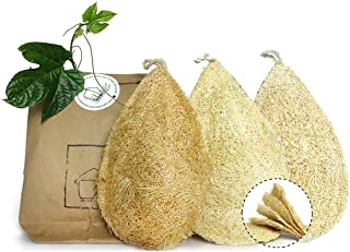 Miw Piw Natural Dish Sponge Pack 3 Vegetable Scrubber for Kitchen 100% Loofah Plant Cellulose Scouring Pad Biodegradable C...