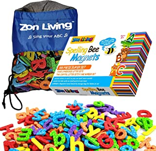 Zon Living 195 Piece Magnets for Kids Magnetic Alphabet Letters Numbers Lowercase Uppercase Refrigerator Magnets ABC 123 Toddlers Carry Bag Board Vowels Frig Fridge