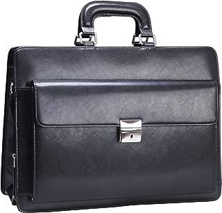 Ronts Genuine Leather Briefcase for Men Business Handbag Shoulder Lawyer Bag Lock Attache Case 15.6 Inch Laptop Work Executive Messenger Bag Black