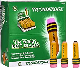 TICONDEROGA Erasers, Pencil Shaped, Yellow, 36-Pack (38936)