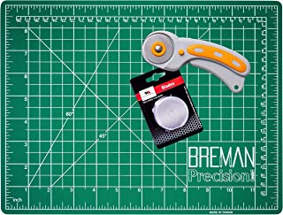 WA Portman Rotary Cutter Set I 45mm Rotary Fabric Cutter with 5 Extra Cutter Blades and 9x12 inch Self Healing Cutting Mat Set I Great for Crafting Sewing Quilting Scrapbooking Enthusiasts