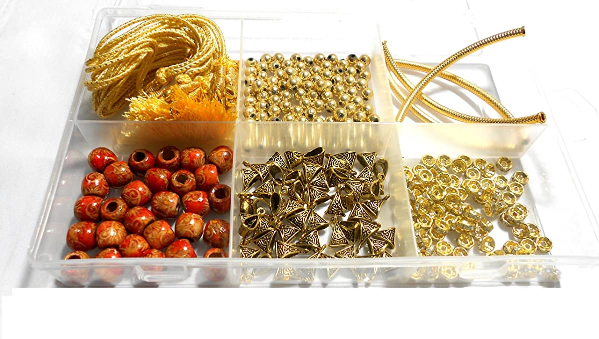 Goelx Silk Thread Necklace Making All Gold Materials Kit- With Free Necklace Storage Box