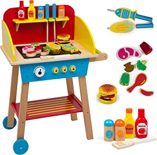 Cook 'N Grill Wood Toy BBQ Set - Includes Over 30 Pcs of Pretend Play Wooden Barbeque Food and Barbecue Grilling Tools