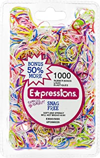 Expressions Girls' Hair Accessories - 1000PC Snag Free Rubber Bands (TIE-DYE)