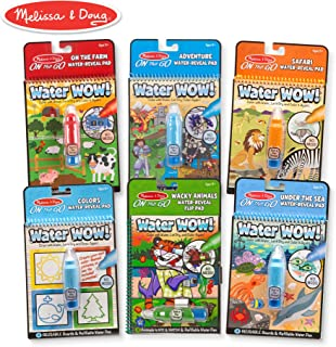 Melissa & Doug On The Go Water Wow! Activity Pad 6-Pack, Farm, Safari, Adventure, Colors & Shapes, Wacky Animals, Under The Sea (Reusable Water-Reveal Coloring Books)