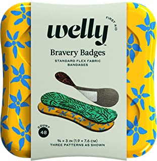 Welly Bandages - Bravery Badges, Flexible Fabric, Adhesive, Standard Shape, Floral Patterns - 48 Count