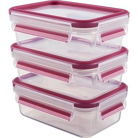Emsa 515582 Alimentaires Clip & Close, Transparent/Rose, 0,55 Litre, Lot de 3 Boîtes